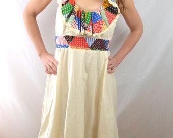 Vintage 70s Summer Open Back Hippie Patchwork Maxi Ruffle Dress
