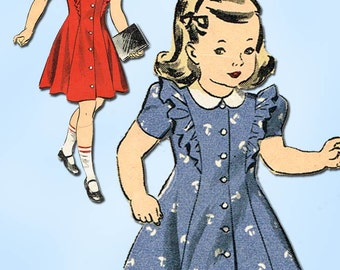 1940s Vintage Du Barry Sewing Pattern 5751 WWII Toddler Girls Princess Dress Sz2