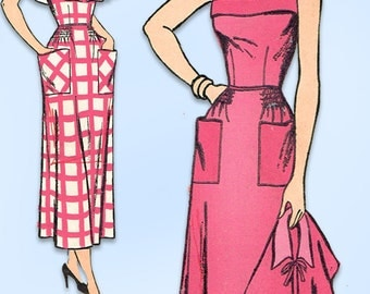 1940s Vintage New York Sewing Pattern 406 Uncut Misses Sun Dress & Capelet 32B