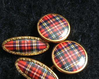 Vintage Plaid Cuff Links, Cufflinks.  Made in Great Britain.  Gold toned Metal.  Mid Century Modern. Mad men.