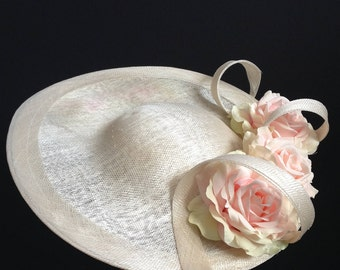 Annabelle Pale Pink and Ivory Saucer - Chic saucer hat perfect for a wedding or the races, can be made in other colours