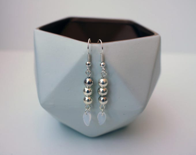 Silver Drop earrings with White Leaves.