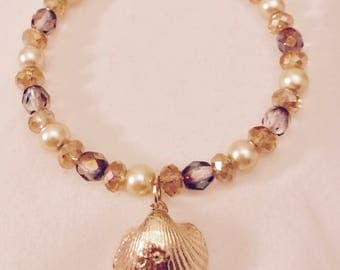 American Girl Sized Crystal and Pearl Choker Necklace with a Golden Scallop Charm