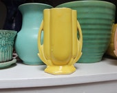 McCoy Pottery Yellow Double Handled Vase VINTAGE by Plantdreaming
