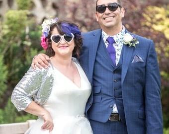 Silver Sequin Bolero, Silver Bridal Bolero, Silver Sequins, Sequin Jacket, Sequin Shrug, Sequin Bridal Bolero, Bright Silver Sparkle - SALLY