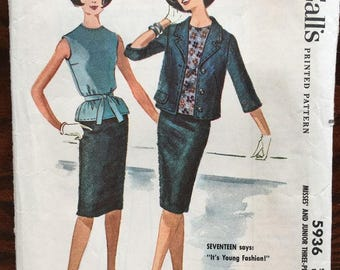 McCall's 5936 Vintage blouse, skirt and jacket suit Mid-Century Modern Madmen