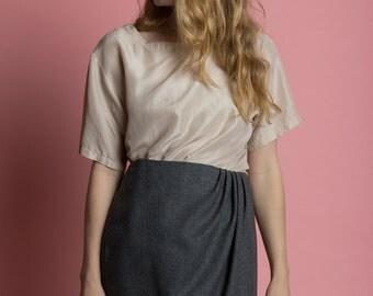 Vintage 90s Airy Beige Silk Minimal Oversized Shirt | M