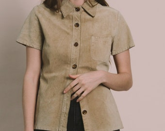 Vintage 90s Tan Suede Leather Button Up Shirt | S