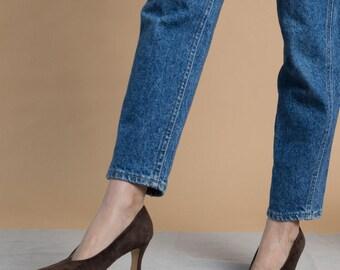 Vintage 90s Brown Suede Pointed Toe Pumps / Anne Klein Heels