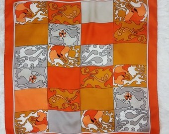 GROOVY Vintage 60s 70s Orange, Gray & White Psychedelic Shapes and Squares Large Silk Scarf