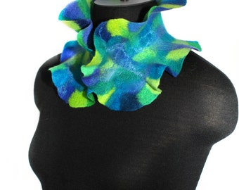 Felted Handmade Scarf Felt Collar Wool OOAK Felt Gift For Her Multicolor Neck Warmer