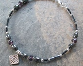 Hematite & Crystal Ankle Bracelet - Chakra/Zen Style Jewelry