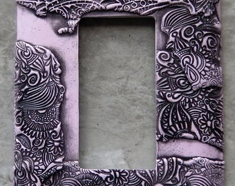 Lavender and Gray, rocker light switch cover, polymer clay over metal switch plate