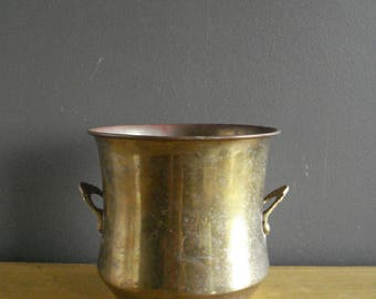Brass it Up - Brass Planter -  Round Brass Planter or Bowl with Handles - Brass Urn