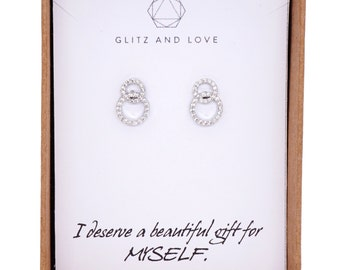 Infinity - Wedding Bridesmaid Gift Bridal Earrings Bridesmaid Jewelry Clear White luxe Cubic Zirconia Ear Post Stud Earrings Sterling