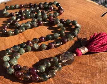 Phantom quartz mala, smoky quartz mala, garnet mala, prayer beads