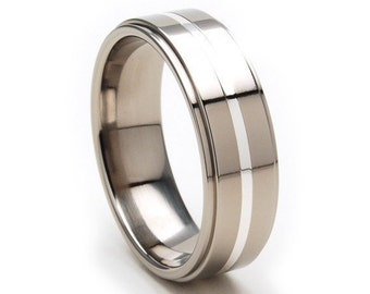New Comfort Fit Band, 7mm Titanium Ring, Sterling Silver Inlay, Free Jewelry Sizing 4-17: 7RC11GP-SSINLAY