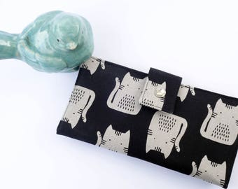 Cat wallet, womens wallet, Japanese fabric wallet, cat lover gift, mothers day gift, iphone wallet, organic womens wallet thin iphone wallet