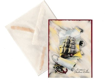 Christmas Card Vintage 1950's Sailing Ship Greeting with Envelope An Artistic Card