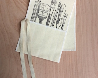 Hand printed brush roll holder with linen ties