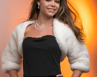 Faux Fur 3 /4 sleeve bolero jacket shrug Style -open front Bride's winter wedding Available in different textures and colors of faux fur