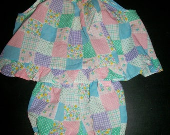 Vintage Fawn Togs 12 Mos. Summer Swing Outfit Baby Girl Quilted Look Top and Bloomers