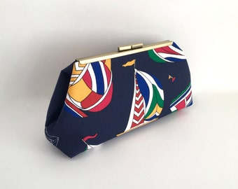 Nautical clutch, sailboat clutch, preppy clutch, navy clutch, boat clutch, sailing clutch, nautical handbag, one of a kind