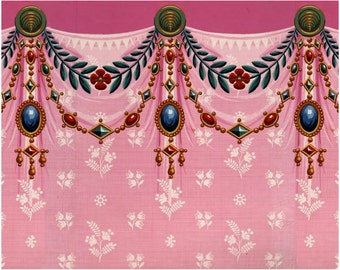antique french Marie Antoinette wallpaper pink drapery and jewels illustration digital download
