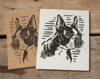 Boston Terrier -  Block Print