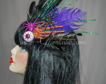 Ready to ship halloween hair piece with spiders, eyeball, skull hand, and lots of feathers