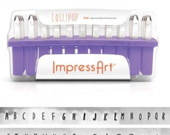 Lollipop UPPERCASE Letter Alphabet Metal Stamps 4mm font ImpressArt Hand Stamp Jewelry Tools 7 Bonus Impress Art Stamps GIFT Sterling Silver