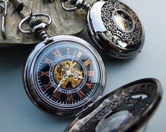 """Premium Black Pocket Watch, 15"""" Watch Chain, Engraved Watch, Groomsmen Gift, Mens Watch, Watch   - Item MPW90"""