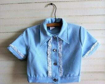 Girls Vintage Blouse, Top, Vintage Shirt, 1980s Blue Suit Jacket , Light Blue Dress Jacket, Short Sleeve Jacket Top, 1980s Lothing, Girls 10