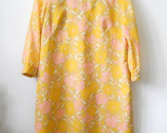1960s Dress • Vintage Classic Floral Dress • Spring Summer Pink Yellow Tan Dress