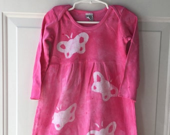 Pink Butterfly Dress, Girls Butterfly Dress, Pink Girls Dress, Long Sleeve Dress, Butterflies Dress, Girls Dress with Butterflies (2T)