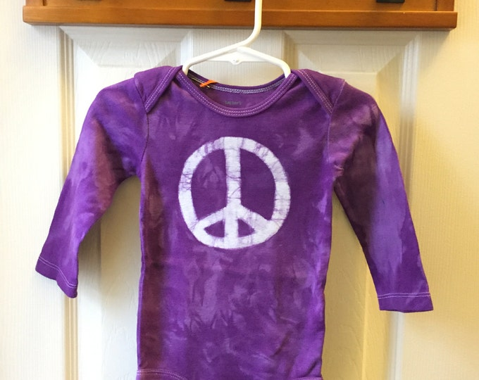 Peace Sign Bodysuit, Purple Peace Sign Baby Bodysuit, Peace Baby Gift, Purple Baby Gift, Gender Neutral Baby Gift, Hippie Baby (12 months)