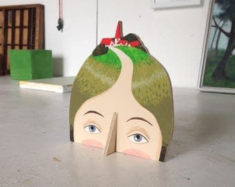 Hand painted plywood sculpture - Lady with Village on her Head XVI