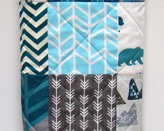 Rustic Baby Boy Quilt-Blue Woodland Nursery-Gray Baby Bedding-Modern Patchwork with Deer-Elk-Bear-Buck-Antlers-Arrows