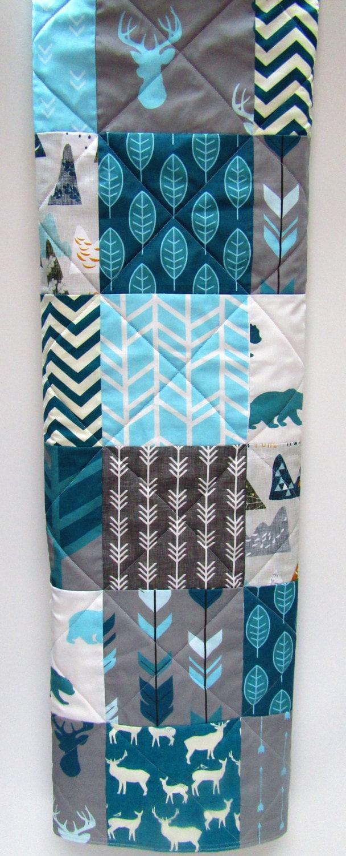 Rustic Baby Boy Quilt-Blue Woodland Nursery-Gray Baby