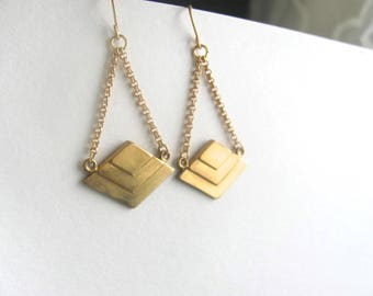 Art deco triangle drop chandelier earrings raw brass vintage on 14k gold plate chain, vintage geometric pendant, up cycled jewelry, boho