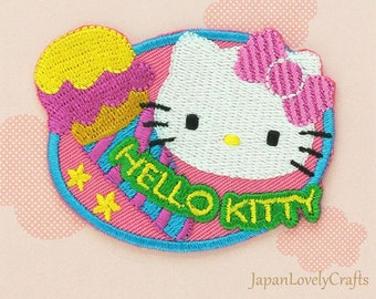 Hello Kitty & Blue Bow Patch, Kawaii Sanrio Embroidered Iron On Patch, Japanese Cute Iron on Applique, Made Japan, Embroidery Applique, W213