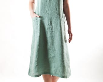 Linen Dress, Womens Loose Linen Dress, Womens Linen Clothing, Deep Celadon color.
