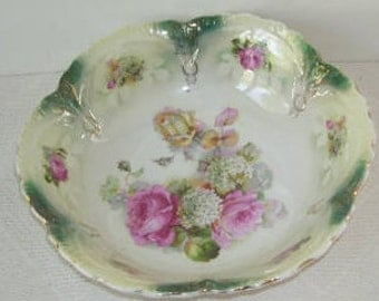 Bavarian Lusterware Porcelain Serving Bowl, PInk Roses, Curved Horseshow Scalloped Edge, Large Serving Bowl Made In Bavaria,