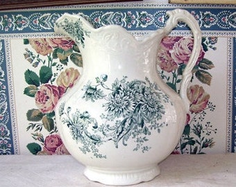 Buffalo Pottery Chrysanthemum Pitcher, White and Green Pitcher with Fancy Handle, White Buffalo Pottery Pitcher ,Ironstone Pitcher