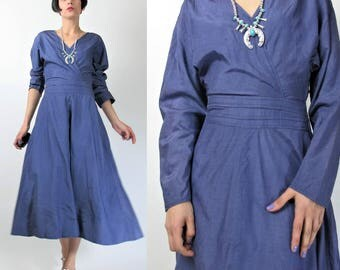 Vintage 1950s Dress Lilac Purple Dress Fit and Flare 50s Dress Long Sleeve Knee Length Dress Acetate Cocktail Party Formal Wrap (M) E5095