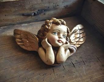 "Small vintage 4-3/4"" chalkware angel wall hanging, Spanish Colonial religious folk art, home altar cherub head, Catholic gift, angel decor"