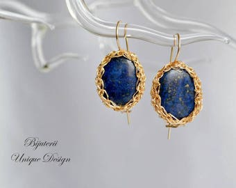 Royal blue crochet earrings, gold and blue earrings, lapis lazuli earrings