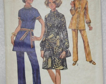 """Size 14 bust 36"""" Simplicity  Sewing Pattern 9085 Dress, Top or Tunic with Pants 1973 Classic! Uncut!"""