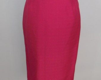 Vintage Fuscia Pink Pencil Skirt with Bow Detail At The Back, 28 Inch Waist, Size 12,