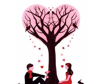 Tree of Love - Limited Edition Print - Tree Print - Love Print - Gift for them - Wedding Art